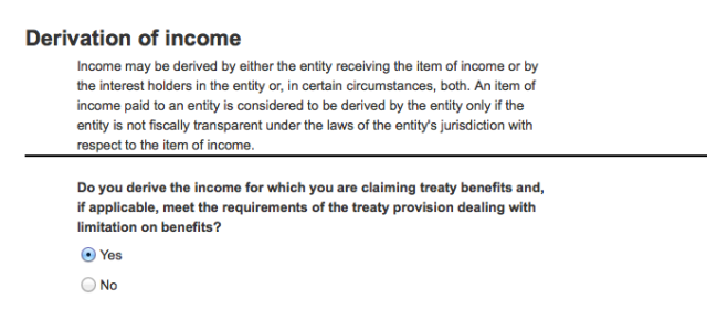 Derivation of income question for companies completing Amazon's online tax questionnaire