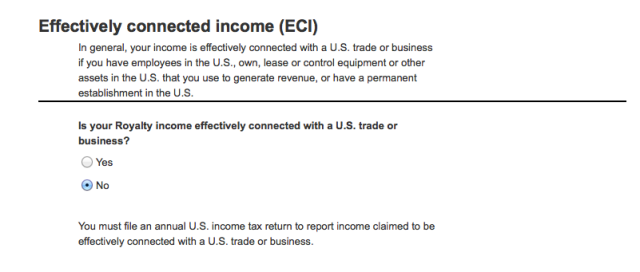 Effectively connected income question for Amazon online tax interview