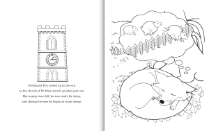 Interior pages from Ferdinand Fox's Big Sleep colouring book