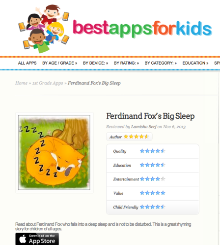 Best Apps For Kids - review of Ferdinand Fox App