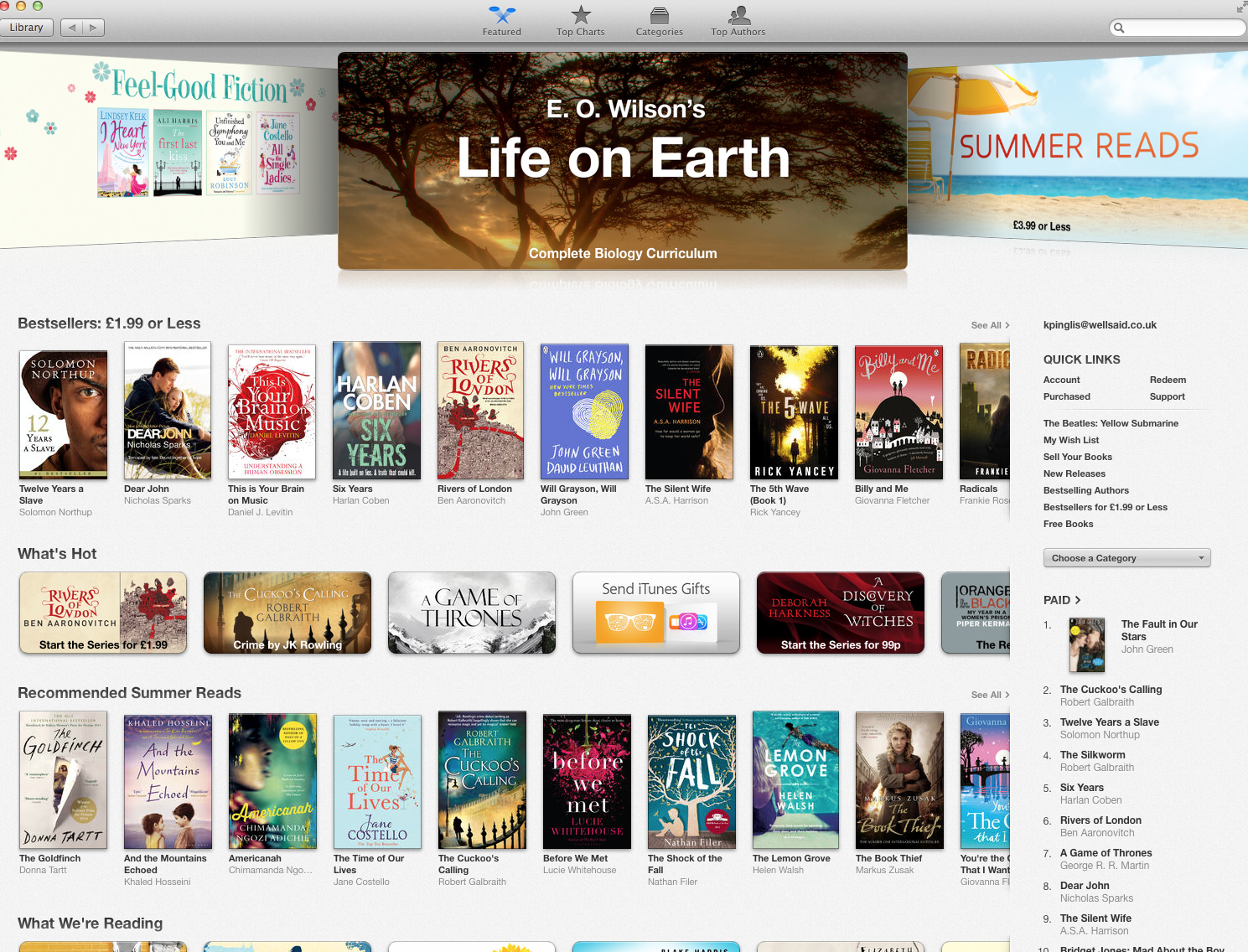 Typical iBooks landing page