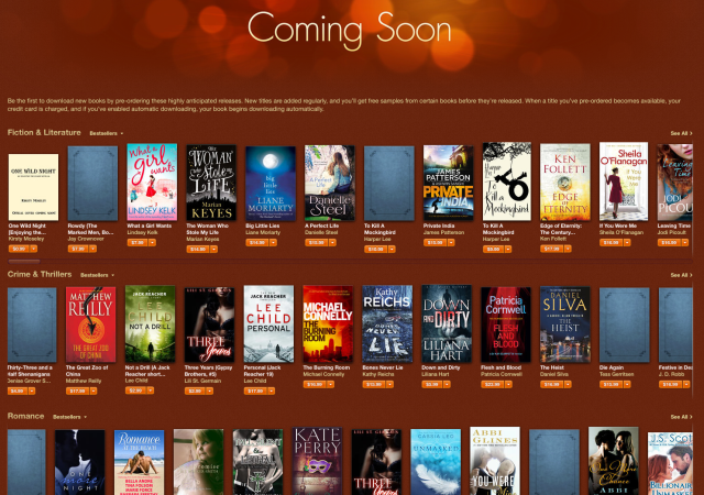 Image of 'Coming soon' books titles in Apple's iBook store