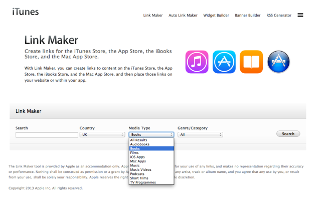 Image of Apple's link maker landing page