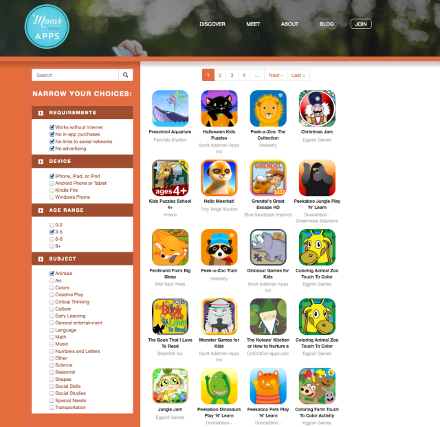 Moms With Apps website search page