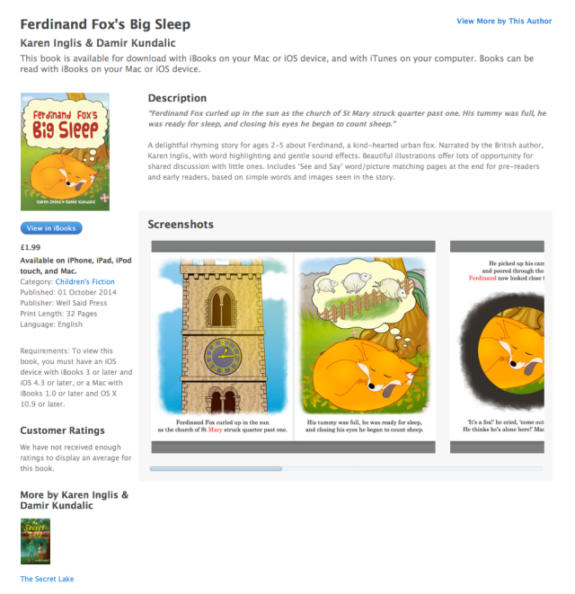 Ferdinand Fox's Big Sleep enhanced eBook sales page