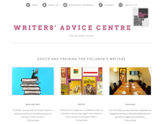 Image of Writers' Advice Centre for Children's Books website home page