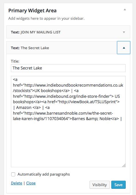 Image of text widget & example coding in WordPress