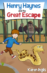 Boy chasing a snake with gorilla looking on - book cover of Henry Haynes and the Great Escape