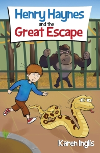 Image of boy chasing a snake and a gorilla staring out of a cage at them