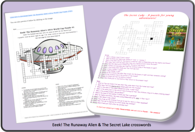 Image of two crossword puzzles with book cover and spaceship design included