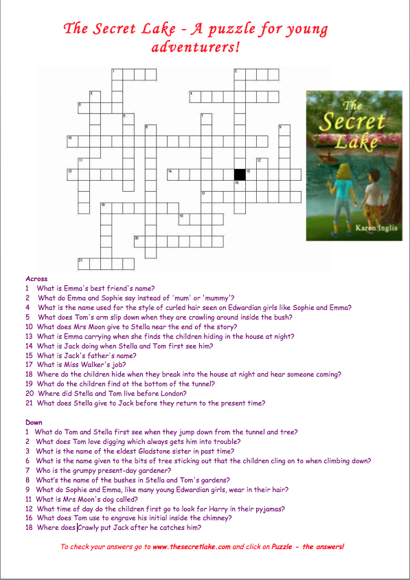 Image of a crossword puzzle and The Secret Lake book cover