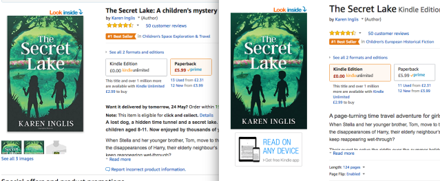Images of The Secret Lake by Karen Inglis with best seller labels on Amazon.uk