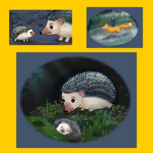 Three children's book illustrations from Ferdinand Fox and the Hedgehog by Karen Inglis, including Ferdinand Fox, Hatty the hedgehog and her baby son Ed.