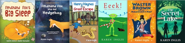 six children's book covers by karen inglis