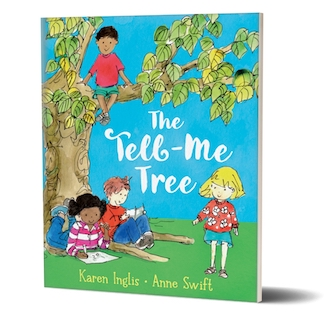 Kids talking and reading beneath a tree - the front cover of 'The Tell-Me Tree, by Karen Inglis and Anne Swift
