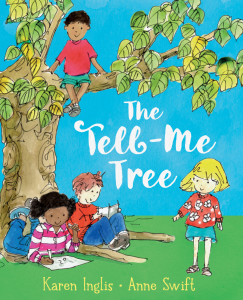 Children sitting below a tree talking and reading - the book cover of The Tell-Me Tree